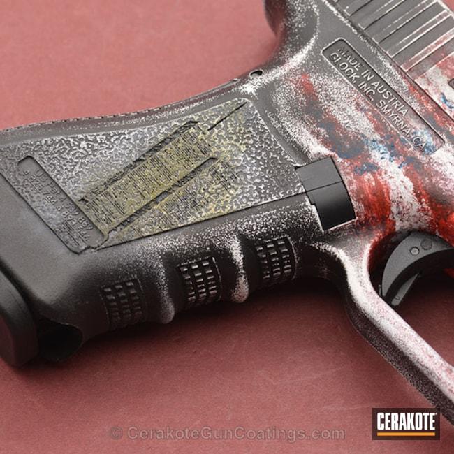 Cerakoted: Stormtrooper White H-297,USMC Red H-167,Pistol,American Flag,Glock,Glock 17,Sky Blue H-169