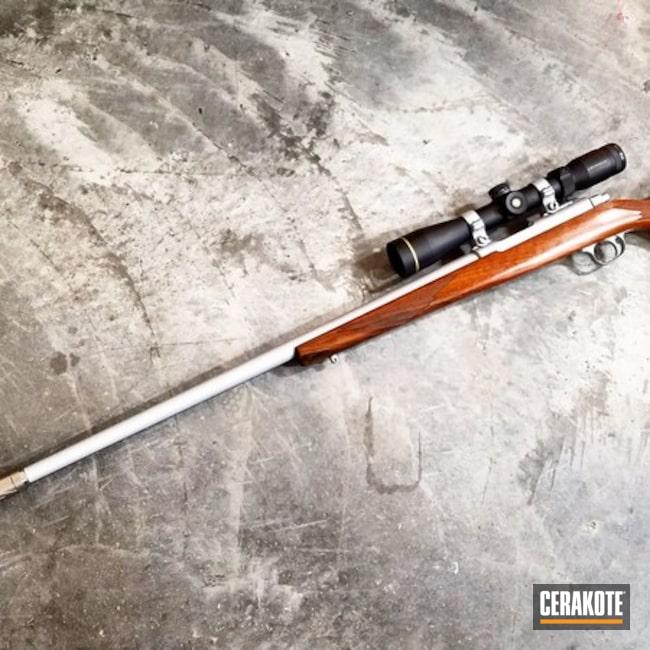 Cerakoted: Bolt Action Rifle,Silencer,M77/17,Ruger,Hunting Rifle,Varmint Gun,#suppressed,Crushed Silver H-255,Ruger M77