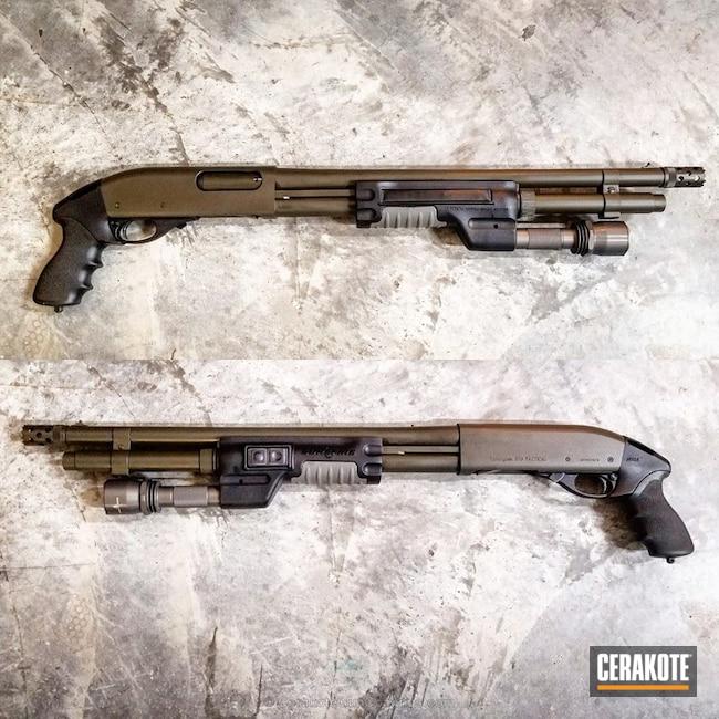 Cerakoted: Tactical Shotgun,Tactical,12 Gauge,Remington 870,Remington,MAGPUL® O.D. GREEN H-232,Pump-action Shotgun