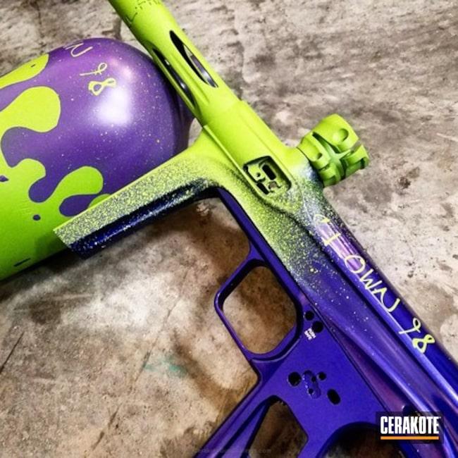 Cerakoted: Distressed,Zombie Green H-168,Wild Purple H-197,Drips,Gun Parts,More Than Guns,Stencil,Three Color Fade,Paint Ball Gun,Bright Purple H-217,Splatter,Paintball,Paintball Gun