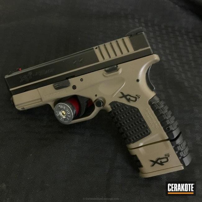 Cerakoted: Graphite Black H-146,Two Tone,Springfield XD,Pistol,Springfield Armory,Flat Dark Earth H-265