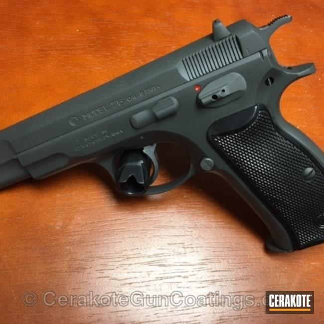 Cerakoted: 9mm,Solid Tone,CZ 75,Pistol,Smoke E-120,CZ
