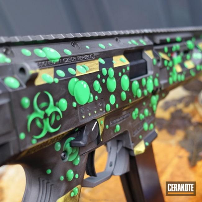 Cerakoted: CZ Scorpion Evo,Electric Yellow H-166,Graphite Black H-146,Zombie Green H-168,Tungsten H-237