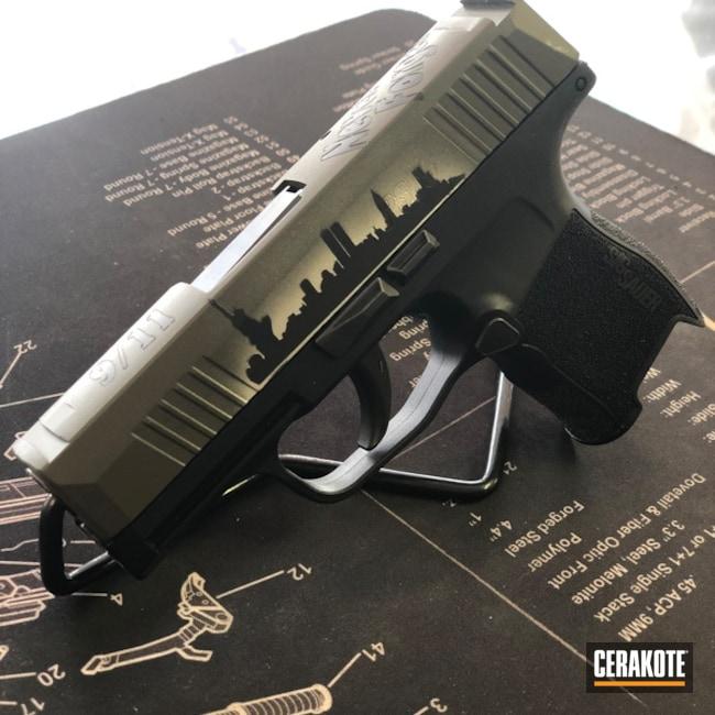Cerakoted: Snow White H-136,Mil Spec O.D. Green H-240,Armor Black H-190,Pistol,Sig Sauer