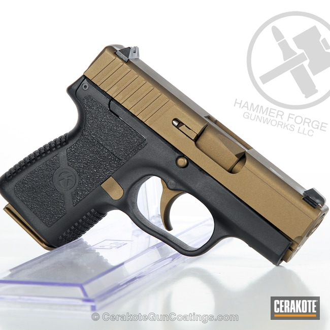 Cerakoted Kahr Arms Handgun In Burnt Bronze