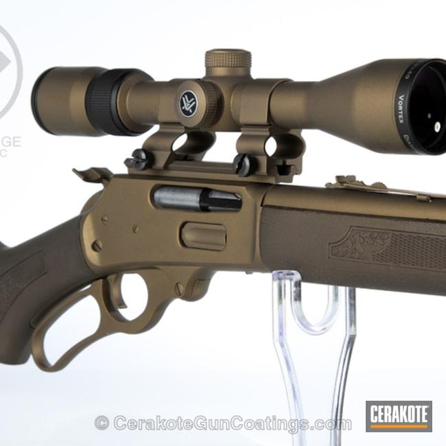 Cerakoted: Rifle,Wood,Scope,Hunting Rifle,Burnt Bronze H-148,Lever Action