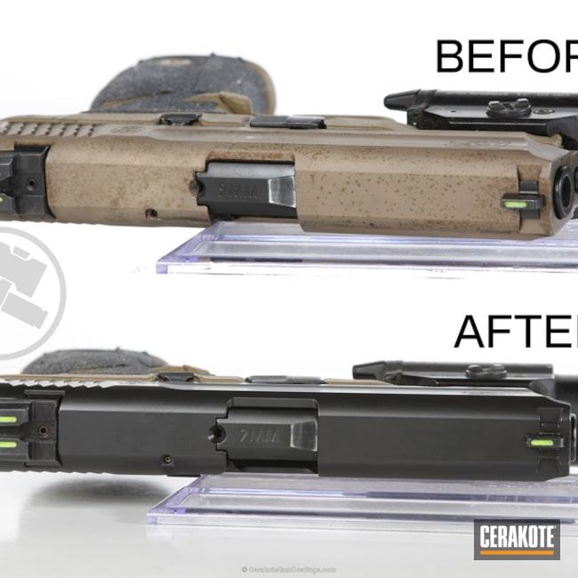 Cerakoted: Graphite Black H-146,Smith & Wesson,Restoration,Smith & Wesson M&P,Pistol,VTAC,Handguns