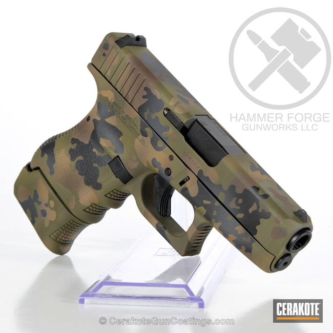 Cerakoted: Noveske Tiger Eye Brown H-187,Mud Brown H-225,Woodland Camo,Graphite Black H-146,Pistol,Glock,Noveske Bazooka Green H-189,Glock 36,Handguns,Chocolate Brown H-258