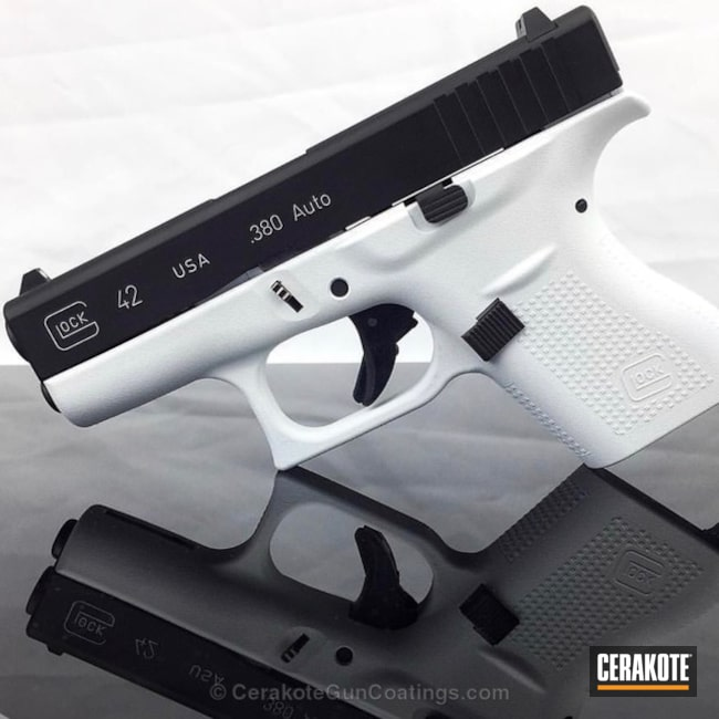 Two Toned Glock 42 Handgun in Stormtrooper White and Graphite Black