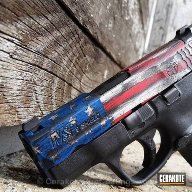 M&P Shield Handgun in an American Flag Cerakote Finish