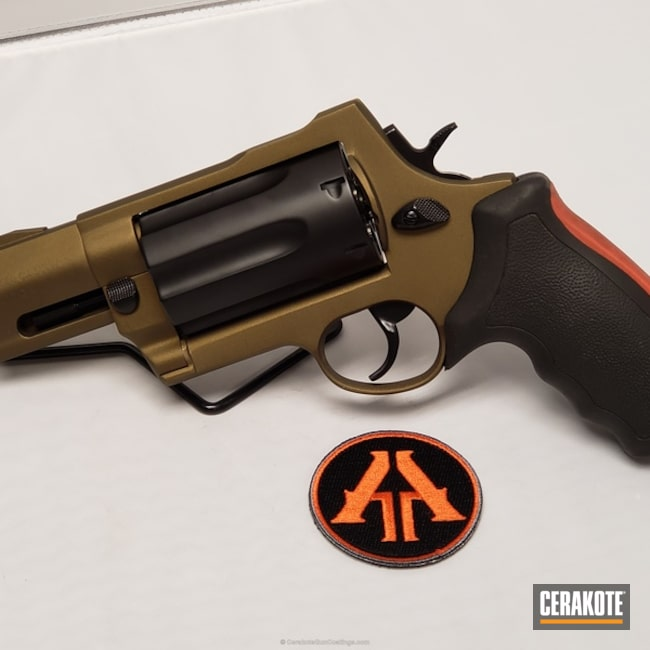 Mobile-friendly version of the 1st project picture. Graphite Black H-146Q, Taurus, Revolver, Burnt Bronze H-148Q, .410, 45lc, No More Rust