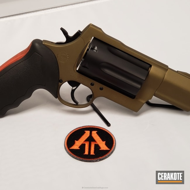 Mobile-friendly version of the 3rd project picture. Graphite Black H-146Q, Taurus, Revolver, Burnt Bronze H-148Q, .410, 45lc, No More Rust