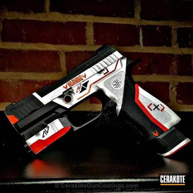 Cerakoted: Sig Sauer P320,Stevens 320,Graphite Black H-146,Stormtrooper White H-297,Counter Strike,Pistol,Sig Sauer,Hunter Orange H-128