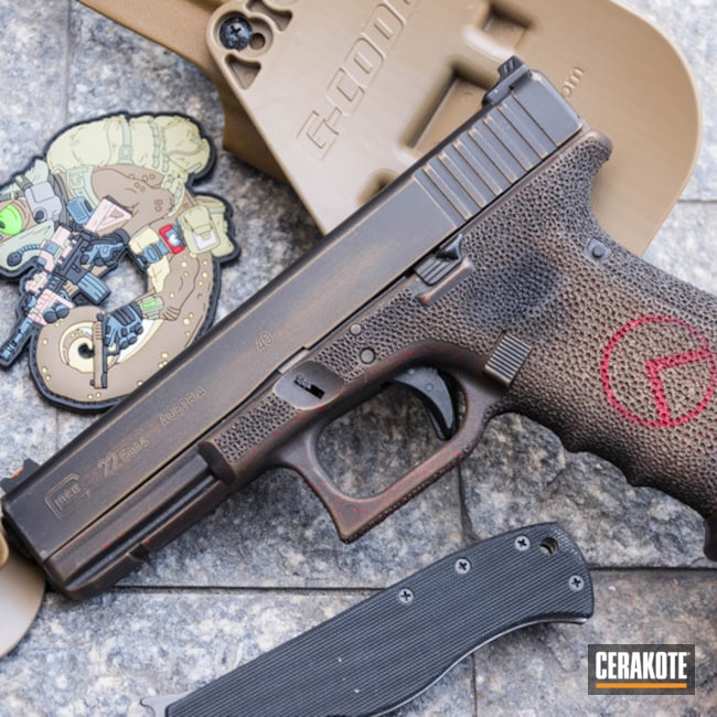 Distressed FDE Glock 22 Handgun