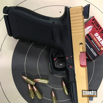 Cerakoted Two Toned Glock 17 Handgun In H-122 Gols And H-216 Smith & Wesson Red