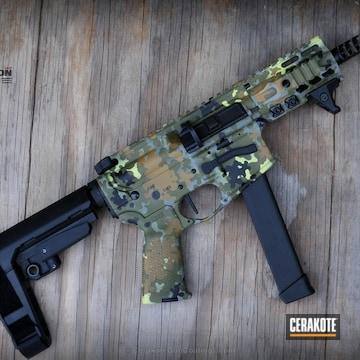 Cerakoted Ar Pistol In A Flecktarn Camo Pattern