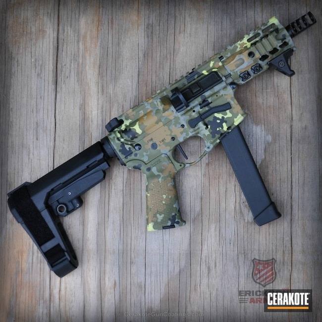 Cerakoted: Noveske Tiger Eye Brown H-187,Corvette Yellow H-144,AR Pistol,Flecktarn,Snow White H-136,etchedordna,Graphite Black H-146,Bull Shark Grey H-214