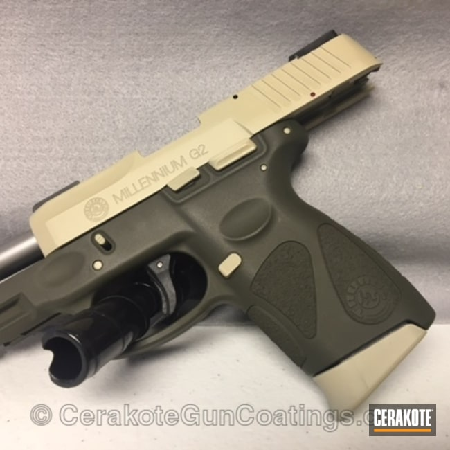 Cerakoted: 9mm,FS BROWN SAND H-30372,Taurus PT111 G2,Two Tone,O.D. Green H-236,Taurus