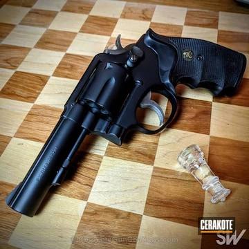 Cerakoted Smith & Wesson Revolver In A Solid Tone Graphite Black Finish