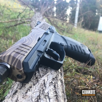Cerakoted Ruger Handgun In A Custom Wood Grain Pattern Finish