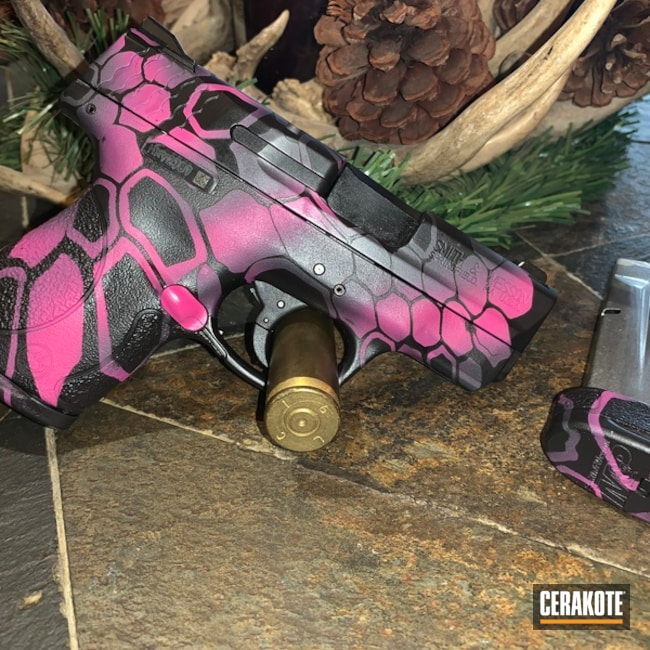 Big version of the 3rd project picture. Graphite Black H-146Q, Smith & Wesson, Kryptek, M&P Shield, Pink Camo, Girls Gun, Sig Pink H-224Q, Sniper Grey H-234Q