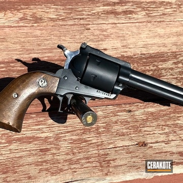 Cerakoted Ruger Blackhawk Revolver Done In E-110 Midnight