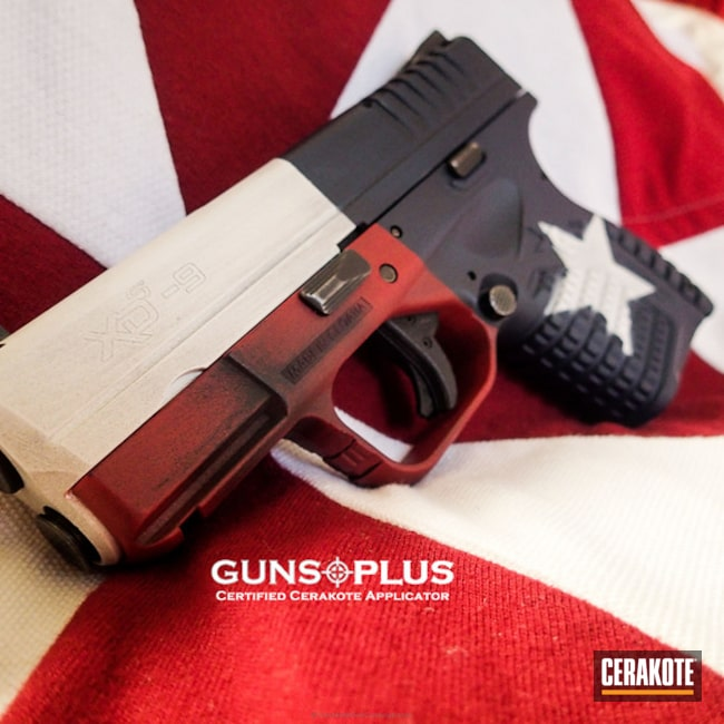 Cerakoted: Lone Star State,FIREHOUSE RED H-216,Battleworn,Snow White H-136,Springfield XDS-9,Pistol,KEL-TEC® NAVY BLUE H-127,Springfield Armory,Springfield XDS,Texas Flag,Distressed Texas Flag