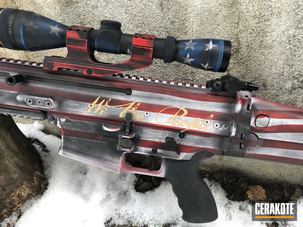 American Flag Coating On This Scar 17 Rifle By Web User Cerakote