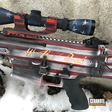 Cerakoted American Flag Coating On This Scar 17 Rifle