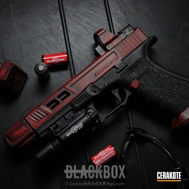 Custom Glock Build with a Distressed Red and Black Cerakote Finish