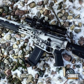 Cerakoted Tactical Rifle In A White Distressed Finish