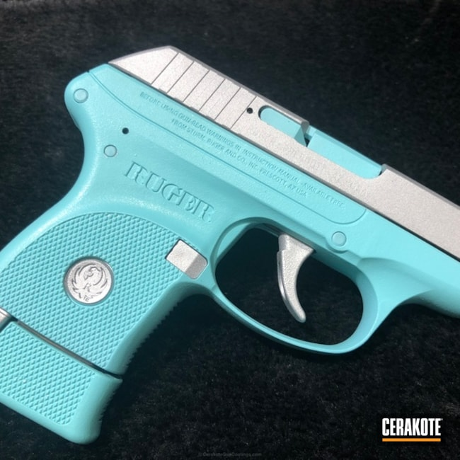 Two Toned Ruger Handgun in Satin Aluminum and Robin's Egg Blue