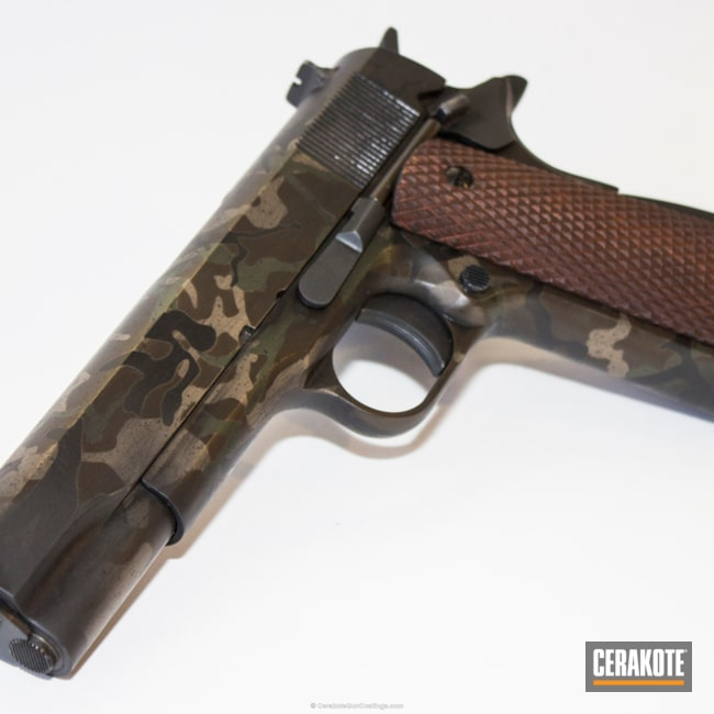 "Thumbnail image for project ""1911 Handgun in a Cerakote Woodland MultiCam Finish"""