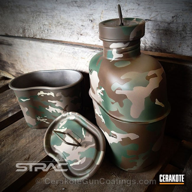 Cerakoted Military Canteen Set In A Cerakote Multicam Finish