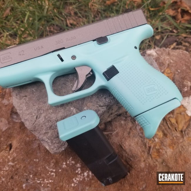 Big version of the 1st project picture. Glock, Two Tone, Pistol, Glock 42, Titanium H-170Q, Robin's Egg Blue H-175Q