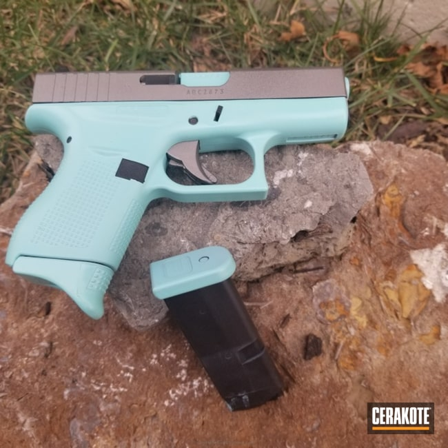 Mobile-friendly version of the 3rd project picture. Glock, Two Tone, Pistol, Glock 42, Titanium H-170Q, Robin's Egg Blue H-175Q
