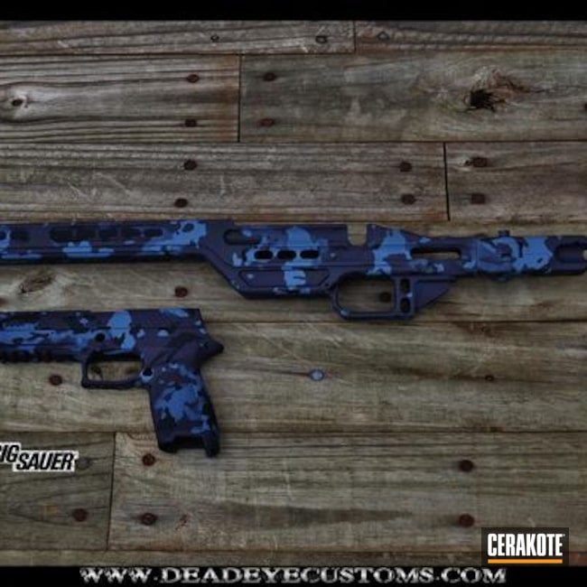 Matching Handgun and Rifle Stock in a Navy MultiCam Finish