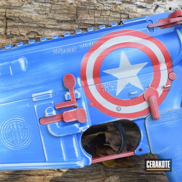 Cerakoted Matching Rifle And Cup Captain America Themed Cerakote Finish
