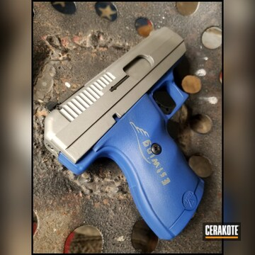 Cerakoted Two Toned Hi-point Handgun Done In Nra Blue And Satin Aluminum