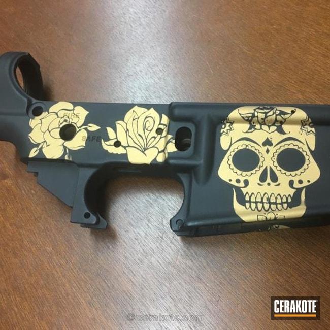 Cerakoted: Skull,Lower,Graphite Black H-146,Gold H-122,AR-15