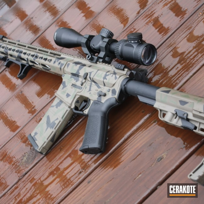 Cerakoted: Graphite Black H-146,Mil Spec O.D. Green H-240,Patriot Brown H-226,Tactical Rifle,Abstract Camo