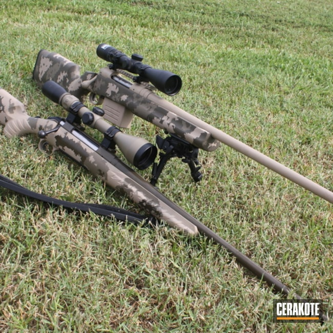 Cerakoted: Bolt Action Rifle,Desert Sand H-199,Patriot Brown H-226,ATACS Camo,Flat Dark Earth H-265,ATACS
