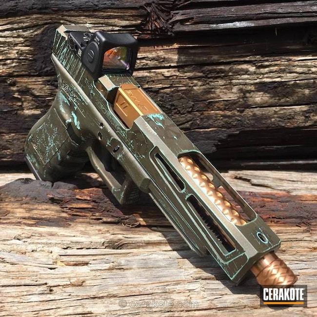 Cerakoted: Gears,Glock 19 MOS,Robin's Egg Blue H-175,Glock 34,MAGPUL® O.D. GREEN H-232,Midnight Bronze H-294,Threaded Barreled,Nichols Guns Custom Shop,Steampunk,Zev Glock,Glock,Trijicon,Custom Glock Slide