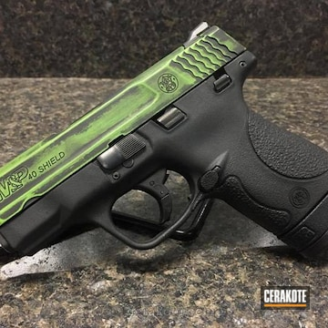 Cerakoted Battleworn Green / Black Smith & Wesson Handgun