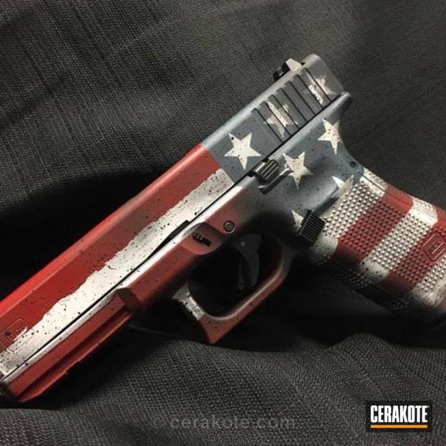 Cerakoted: Distressed,USA,Crimson H-221,Pistol,American Flag,Glock 17,Nichols Guns Custom Shop,Merica,Hidden White H-242,Old Glory,Battleworn,Graphite Black H-146,Splatter,Glock,Stars and Stripes,Blue Titanium H-185
