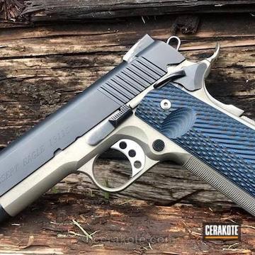 Cerakoted Custom 1911 Done In Socom Blue And Satin Aluminum