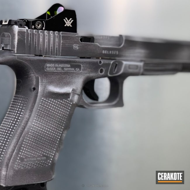 Cerakoted: Sniper Grey H-234,10mm,Battleworn,Distressed,Pistol,Glock 10mm,BATTLESHIP GREY H-213,Glock,Glock 40,Glock 40 Gen 4 MOS