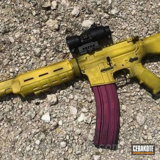 Cerakoted: Corvette Yellow H-144,Battleworn,Ninja,Graphite Black H-146,Distressed,SIG™ PINK H-224,Tactical Rifle,Chappie Rifle,Nichols Guns Custom Shop,AK Rifle,AR-15