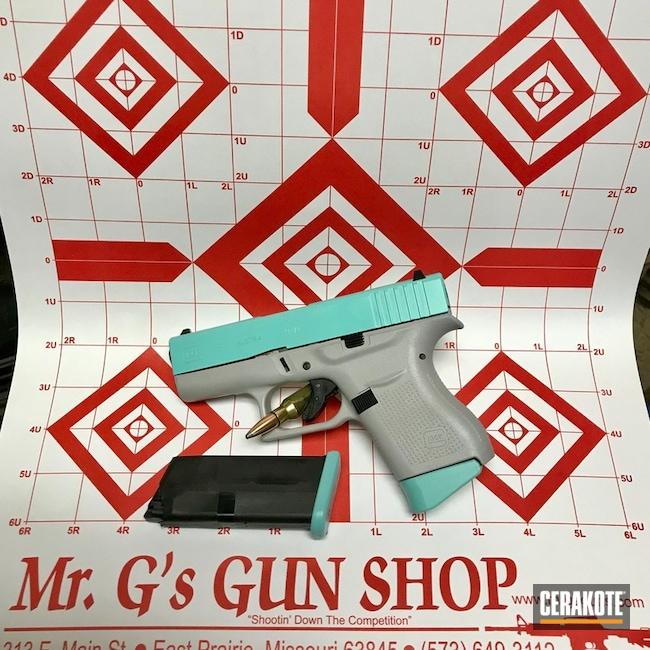 Cerakoted: Custom Mix,Bright White H-140,Robin's Egg Blue H-175,Graphite Black H-146,Two Tone,Pistol,Glock,Glock 43