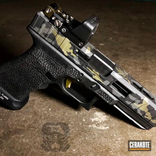 Cerakoted: Sniper Grey H-234,HAZEL GREEN H-204,MultiCam,Graphite Black H-146,Stippled,Pistol,Glock,Glock 17,Custom Glock Slide,MultiCam Black,Black Multi Cam